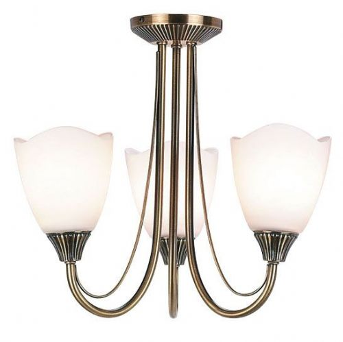 Antique brass effect plate & opal glass Semi Flush Light 601-3AN by Endon